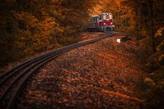 Budapest, Hungary - Beautiful autumn forest with foliage and old colorful train on the track. In the Hungarian woods of Huvosvolgy Royalty Free Stock Photos