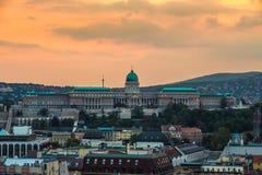 Budapest, Hungary - The beautiful Buda Castle Royal Palace. At sunset stock photos