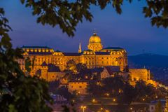 Budapest, Hungary - The beautiful Buda Castle Royal Palace at magic hour with colorful sky. At autumn stock photography