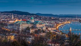 Budapest, Hungary - Beautiful Buda Castle Royal Palace and Matthias Church on a panoramic skyline view of Budapest. In the morning at autumn stock photography