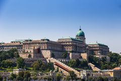 Budapest, Hungary - The beautiful Buda Castle Royal Palace and Varkert bazar on a bright summer day. With clear blue sky stock photography