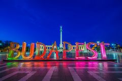 Budapest, Hungary - The beautiful Heroes` Square and illuminated sign of Budapest