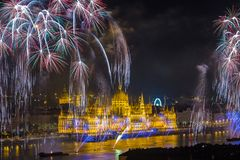 Budapest, Hungary - The beautiful Hungarian Parliament on the 20th of August 2017 fireworks stock photography