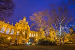 Budapest, Hungary - THe beautiful illuminated Vajdahunyad Caste in the City Park. Of Budapest at blue hour Royalty Free Stock Images