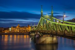 Budapest, Hungary - The beautiful Liberty Bridge at blue hour Stock Images