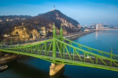 Budapest, Hungary - Beautiful Liberty Bridge Szabadsag Hid on a winter morning with Gellert Hill Royalty Free Stock Image