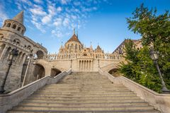 Budapest, Hungary - The beautiful stairs of the Fisherman bastion with the Matthias Church