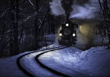 Free Budapest, Hungary - Beautiful Winter Forest Scene With Snow And Old Steam Locomotive On The Track In The Hungarian Woods Stock Image - 140804681