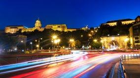 Illuminated Chain bridge and Buda Castle in Budapest, Hungary stock images