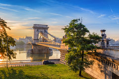 Budapest, Hungary. Budapest Chain Bridge and city skyline when sunrise, Budapest, Hungary Stock Photos