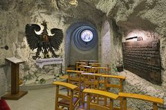 Chapel of Our Lady of Czestochowa in Cave Church in Gellert Hill Cave, Budapest, Hungary Stock Image