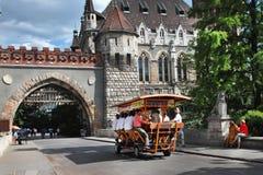 BUDAPEST, HUNGARY - CIRCA JULY 2014 : BierBike with tourists is stock photo