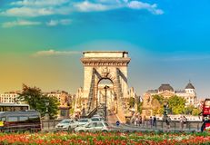 The famous Chain Bridge in the centre of Budapest, Hungary stock photos