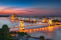 Budapest Hungary City At Night Royalty Free Stock Photography