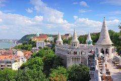Budapest, Hungary. Cityscape with Danube river and Fisherman's Bastion stock image