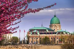 Budapest, Hungary - Dark rain clouds behind the famous Buda Castle Royal Palace on a Spring afternoon. With blooming cherry blossom at foreground royalty free stock images