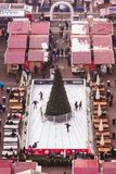 BUDAPEST, HUNGARY - DECEMBER 19, 2018: Beautiful Christmas Market at St. Stephens Square in front of the St. Stephen's Basilica. royalty free stock photos