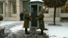Budapest / Hungary - December 20 2018: Ceremonial change of the armed Budapest presidential guard. On the Buda Hill near the residence of the president of stock video footage
