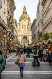 Budapest, Hungary - December 2017: Christmas market in front of. St Stephen Basilica royalty free stock images