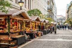 Budapest, Hungary - December 2017: Christmas market in front of. St Stephen Basilica stock images