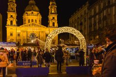 BUDAPEST, HUNGARY - DECEMBER 11, 2017: Christmas Market at St. Stephen`s Square in front of the St. Stephen`s Basilica. stock photography