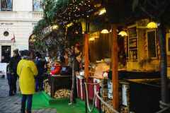 BUDAPEST, HUNGARY - DECEMBER 02, 2017: Christmas Market on the Szentlelek square in Obuda in Budapest, Hungary stock photography