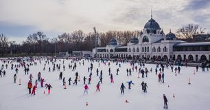 BUDAPEST, HUNGARY - DECEMBER 31, 2018: City Park ice rink on January 03, 2018 in Budapest, Hungary. City Park is Europe's largest royalty free stock image