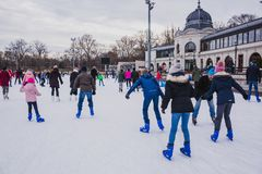 BUDAPEST, HUNGARY - DECEMBER 31, 2018: City Park ice rink on January 03, 2018 in Budapest, Hungary. City Park is Europe's largest stock photography