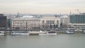 Danube River embankment from Buda castle in Budapest on December 29, 2017. BUDAPEST, HUNGARY - DECEMBER 29, 2017: Danube River embankment from Buda castle in royalty free stock image