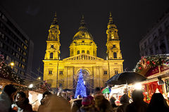 Christmas fair before the Basilica Square at christmastime Royalty Free Stock Photo