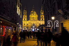 Christmas fair before the Basilica Square at christmastime Stock Photography