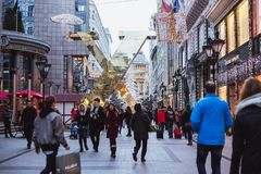 BUDAPEST, HUNGARY - December 28, 2018: The 'Fashion street ' with Christmas decorations in Budapest, Hungary royalty free stock photos