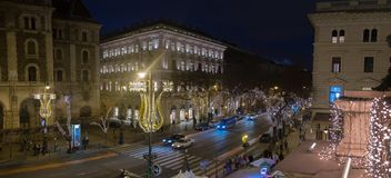 View from Opera onchristmas decorated, Andrassy rd. Budapest. Hungary. BUDAPEST, HUNGARY - DECEMBER 9, 2016: Panoramic view from Opera on beautiful illuminated stock photos