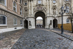 BUDAPEST, HUNGARY - DECEMBER 10, 2015: People visit Buda Castle Stock Images