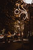 BUDAPEST, HUNGARY - DECEMBER 19, 2018: Traffic trails, street lights and traffic lights at night in Budapest, Hungary royalty free stock images