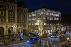 View from Opera onchristmas decorated, Andrassy rd. Budapest. Hungary. BUDAPEST, HUNGARY - DECEMBER 9, 2016: View from Opera on beautiful illuminated and royalty free stock image