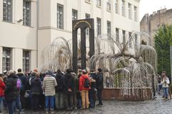 The weeping willow tree in the courtyard memorial of the Hungarian Jewish Martyrs of Cent. BUDAPEST, HUNGARY - DECEMBER 31, 2017: The weeping willow tree in the stock photo