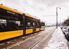 BUDAPEST, HUNGARY - DECEMBER 16, 2018: Yellow trams near the embankment on the Buda side in Budapest stock photos