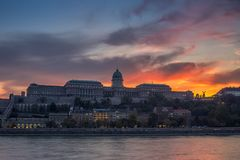 Budapest, Hungary - Dramatic sunset and colorful sky and clouds Royalty Free Stock Images