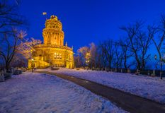 Budapest, Hungary - Elizabeth Lookout Erzsebet Kilato on the t. Op of Janos Hill at blue hour on a cold winter night with clear blue sky Stock Photography