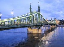 Budapest hungary europe liberty bridge. Night view of the liberty bridge with bathrooms gellert stock photo