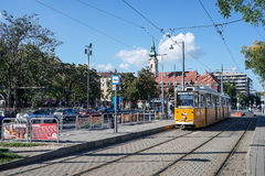 BUDAPEST, HUNGARY/EUROPE - SEPTEMBER 21 : Tram in Budapest Hungary on September 21, 2014. Unidentified people. royalty free stock image