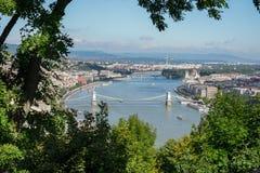 BUDAPEST, HUNGARY/EUROPE - WRZESIEŃ 21: Widok Rzeczny Danu zdjęcia stock