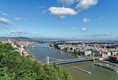 BUDAPEST, HUNGARY/EUROPE - WRZESIEŃ 21: Widok Rzeczny Danu obrazy royalty free