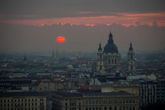Budapest, Hungary - The famous Saint Stephen`s Basilica with red sunrise Royalty Free Stock Photo