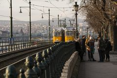 Two Trams Passing. Budapest Hungary -February 5th 2018 - Two trams Passing, Street Scene in Budapest Stock Photos