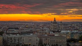 Budapest, Hungary - Golden sunrise and amazing colorful clouds over Budapest. With the Saint Stephen`s Basilica Stock Photography