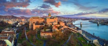 Free Budapest, Hungary - Golden Sunrise At Buda Castle Royal Palace With Szechenyi Chain Bridge, Parliament Stock Photos - 134697383