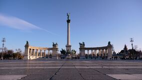 Budapest, Hungary, Heroes` Square on a sunny fall day. stock footage