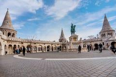 Bronze statue of Saint Stephen near Fisherman`s Bastion in Budap stock photography